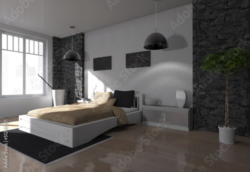 fototapete wohndesign schlafzimmer modern rendering 3d. Black Bedroom Furniture Sets. Home Design Ideas