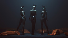 Fototapete - 3 Demon Vampire Bunny Girls in Black Latex and Fishnets an Tights with Lots of Orange Body Bags Lying Around Them 3d illustration 3d render