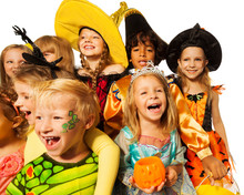 Fototapete - Funny wide angle shoot of kids in costumes