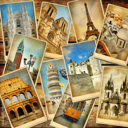fototapete vintage reise collage hintergrund europa fototapeten. Black Bedroom Furniture Sets. Home Design Ideas