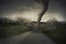 Fototapete - Tornado on road